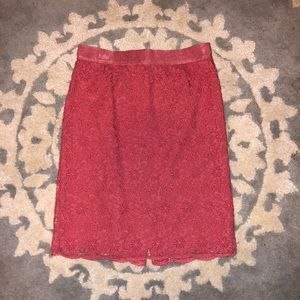 Ann Taylor - Coral Lace Skirt - Size 8